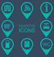 Navigation icons Silhouette icons Service vector image