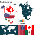 North America map with regions and flags vector image vector image