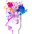 Profile of man full of angry thoughts vector image vector image
