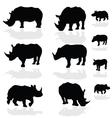 rhinoceros wils animal black silhouette vector image