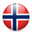 Round glossy icon of norway vector image