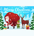 santa elf and deer with christmas gifts vector image vector image