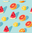 seamless pattern with grapefruit and lemon slices vector image