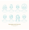set female faces with different hairstyles vector image