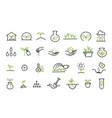 set growing seedlings icons plant shoots vector image