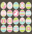 Set of color easter eggs over brown wooden
