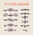 set of hand drawn text dividers isolated on light vector image