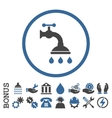 Shower Tap Flat Rounded Icon With Bonus vector image vector image