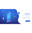 social media messages isometric 3d landing page vector image vector image