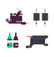 tattoo equipment and professional bottles with ink vector image vector image