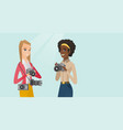 two female multiracial photographers taking photos vector image vector image
