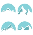 White mountain flat icons on blue background vector image vector image