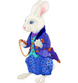 white rabbit holds watch vector image vector image