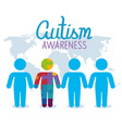 world autism day with silhouettes person