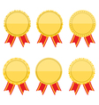 Flat Golden Medals with Rbbons vector image