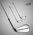 Golf sticks on the gray background as design vector image