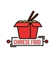 Takeaway chinese noodle box thin line badge vector image