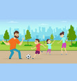 active parents playing sport vector image vector image
