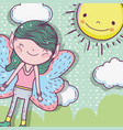 boy fairy creature with sun and clouds vector image vector image