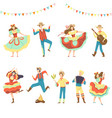 brazilian festa junina party happy men and women vector image vector image