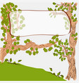 cartoon cute trees with banner on branch vector image