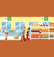 cartoon family in supermarket - flat banner vector image
