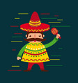 cartoon mexican man in a hat with maraca and vector image vector image