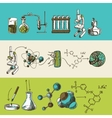 Chemistry research sketch banners set vector image vector image