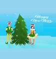 couple boy girl elf costume near fir tree happy vector image vector image