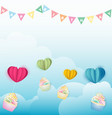 cupcakes with paper hearts balloon on cloud vector image vector image