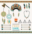Ethnic icon set in netive style vector image