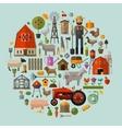 farm in village a set elements - house vector image