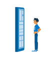 flat young man near virtual digital screen vector image vector image