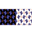 floral seamless pattern with colorful cactus vector image