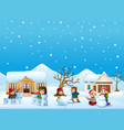 happy kid playing snow in t vector image vector image