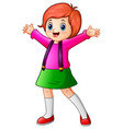 happy school girl cartoon vector image vector image