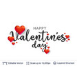 happy valentines day text and 3d hearts on white vector image
