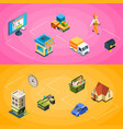isometric online shopping icons infographic vector image vector image