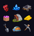 mining game design icon set vector image vector image