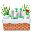 natural cosmetics with basket vector image