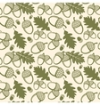 Oak leaves and acorns seamless pattern vector image