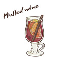 printable of isolated cup of mulled wine with vector image vector image