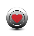 red love heart button vector image vector image