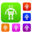 robot set color collection vector image vector image