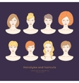 Set of female faces with different hairstyles vector image vector image