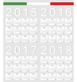 Set of Italian 2015 2016 2017 2018 calendars vector image vector image