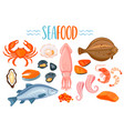 set seafod icons in cartoon style vector image