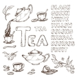 sketch of items for the tea ceremony vector image vector image