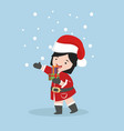 small girl in santa claus costume with gift box vector image vector image