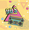 tape recorder 90s music memphis style background vector image vector image